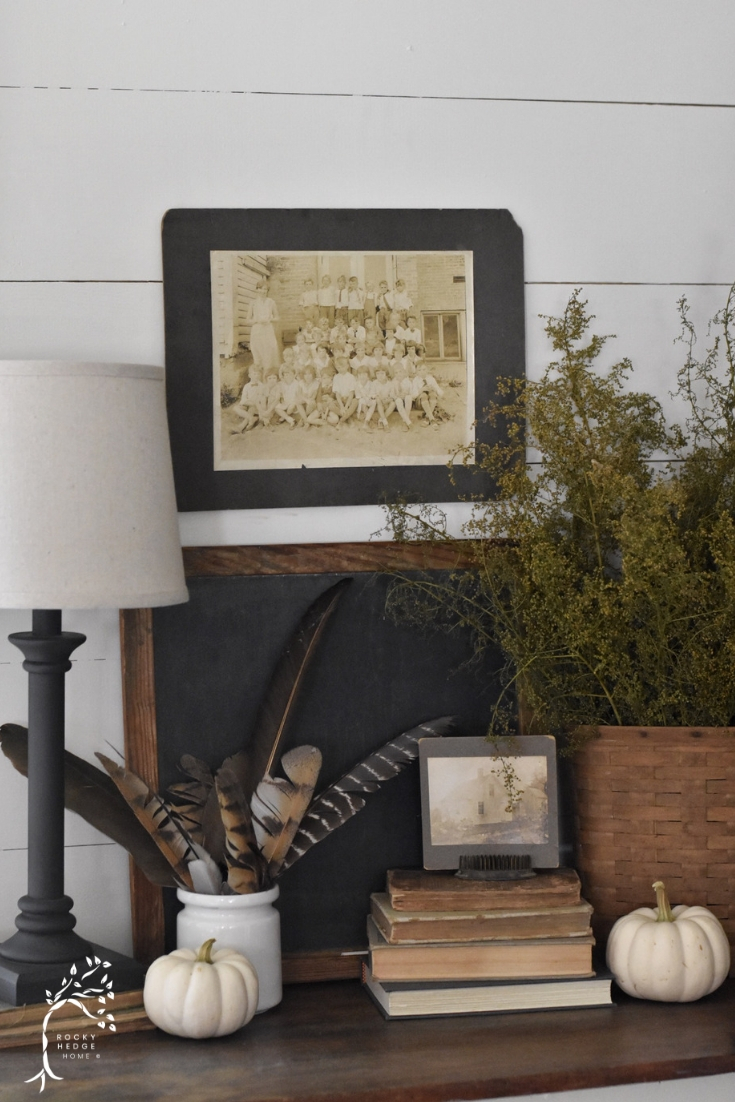 Fall Living Room Side Table Vignette - Fall Farmhouse Decor using natural elements