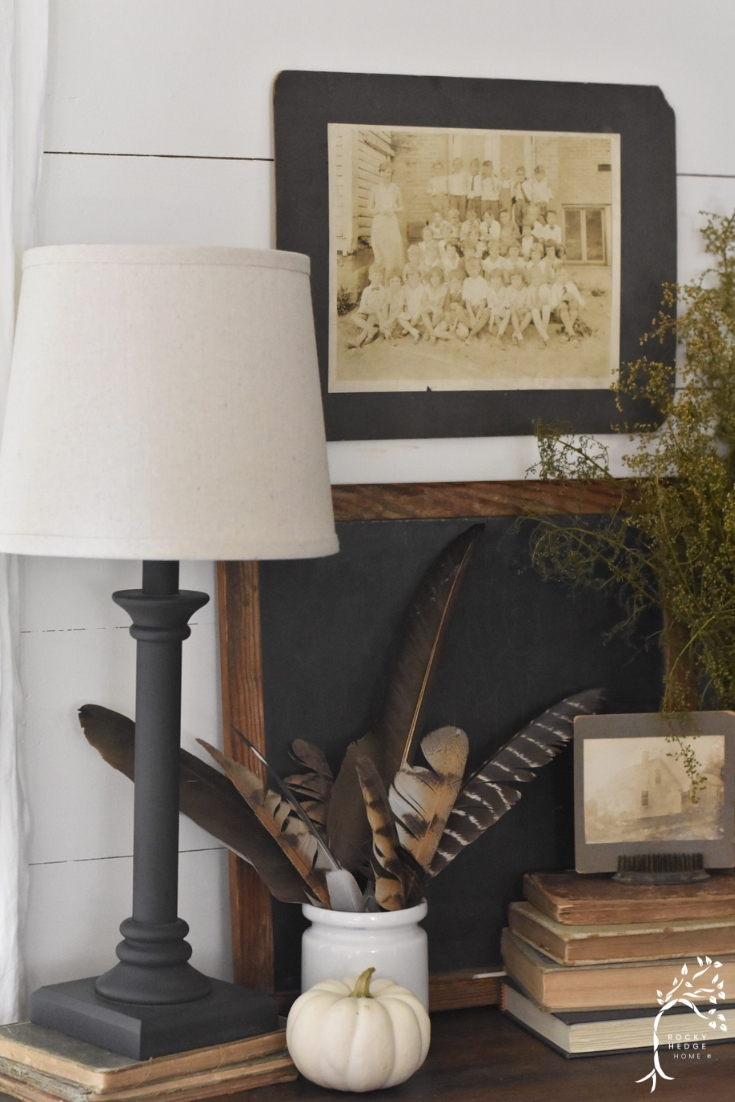 Fall Side Table Vignette - Fall Farmhouse Deocr