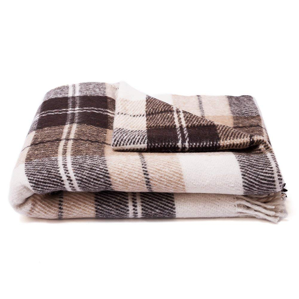 Brown Plaid Throw Blanket