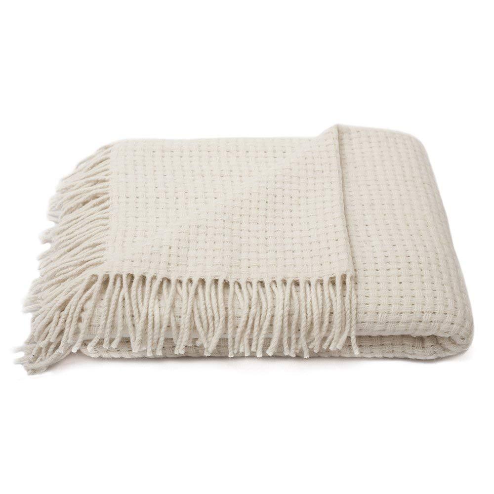 White Wool Throw Blanket