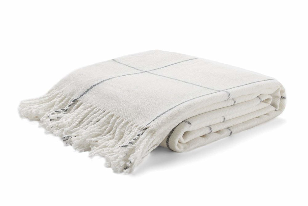 White and Gray Fall Throw Blanket