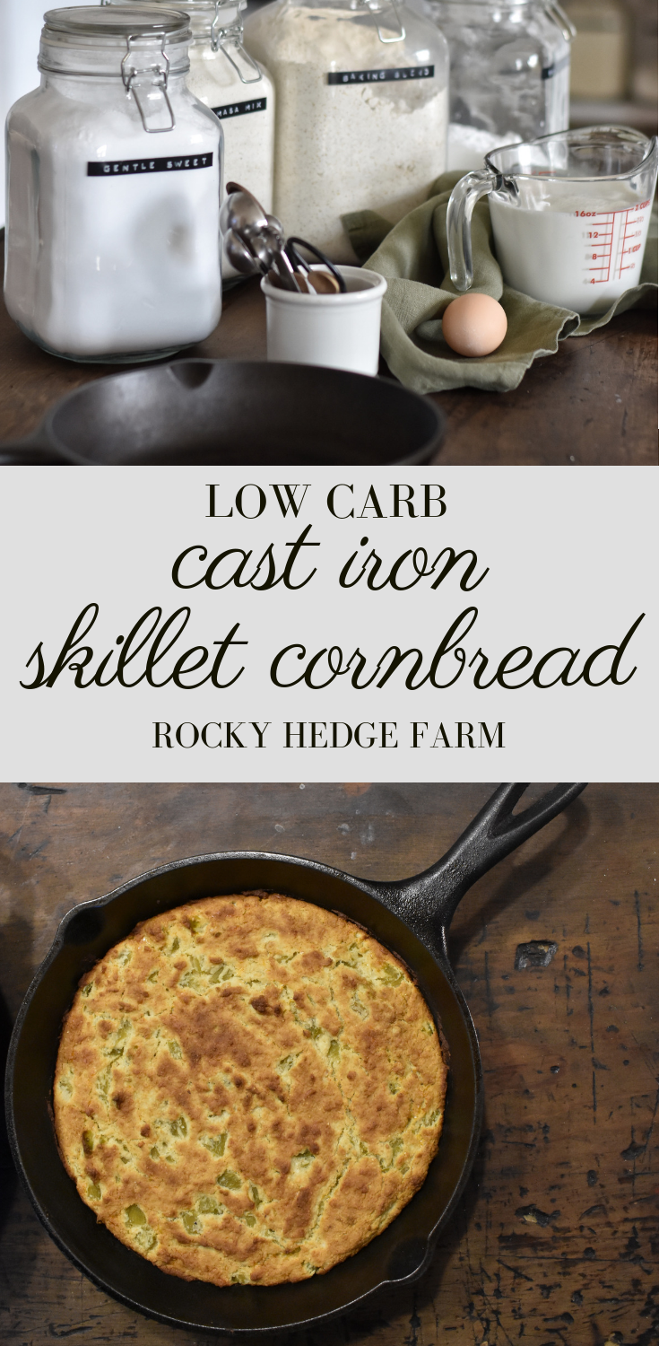 How to make low carb southern style sweet cornbread in a cast iron skillet.png
