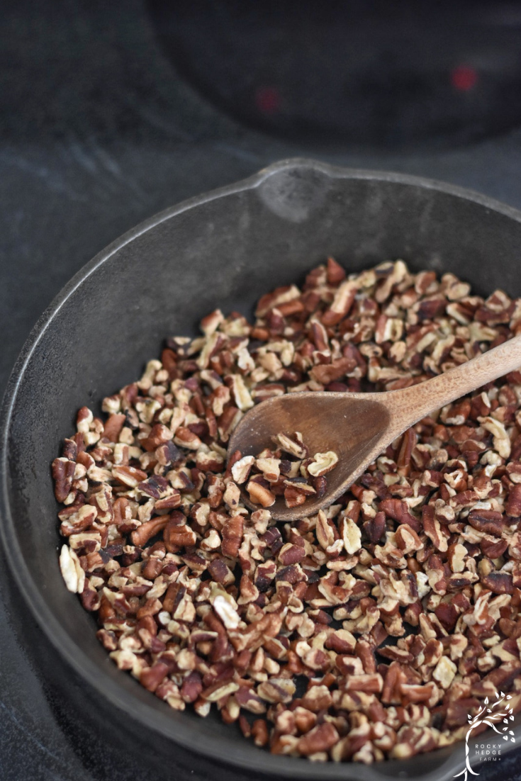 Cast-iron skillet roasted pecans