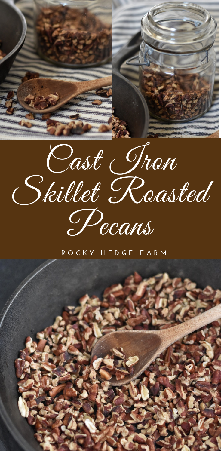 Stove top cast-iron roasted pecans without butter