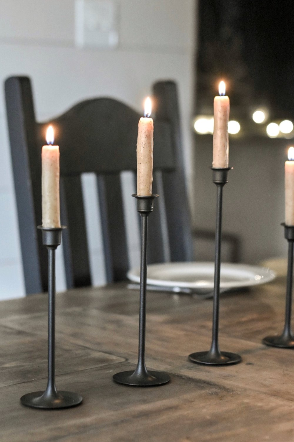 DIY Brass Candle Makeover thrift store makeover | upcycled candlesticks | how to spray paint candlesticks | thrift store candlesticks | black candlesticks - Rocky Hedge Farm