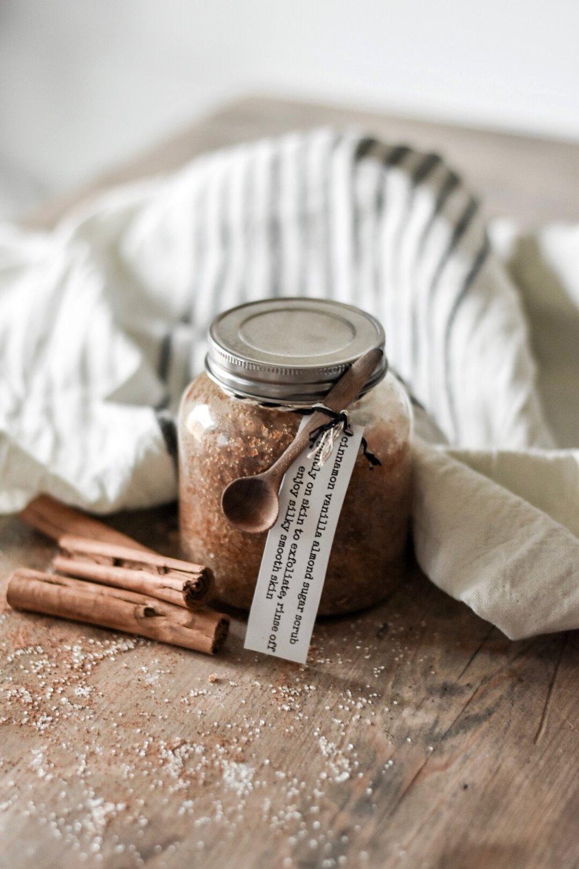 DIY Sugar Scrub Vanilla Cinnamon Almond Exfoliant - Silky Smooth Skin | Rocky Hedge Farm