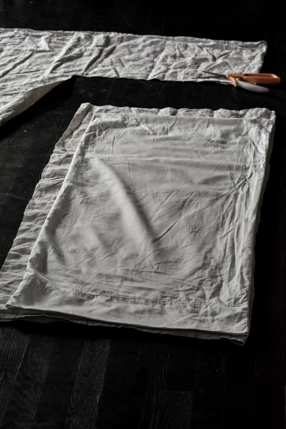Repurposed linen tablecloth turned into linen pillow covers with tie closures | Rocky Hedge Farm