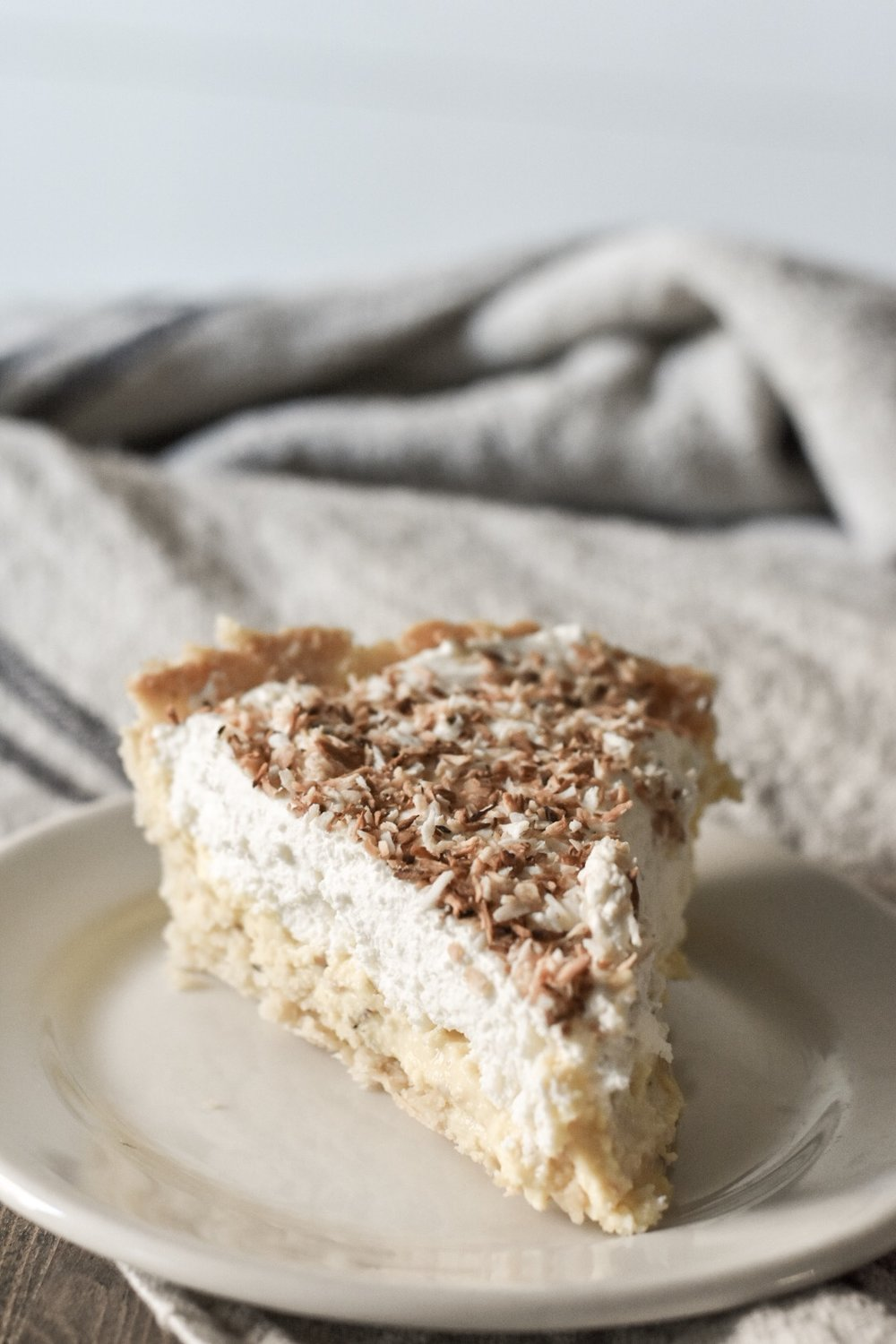 Slice of Homemade Coconut Cream Pie  Low-Carb  Keto  Trim Healthy Mama  Gluten Free  Sugar Free  Rocky Hedge Farm.JPG