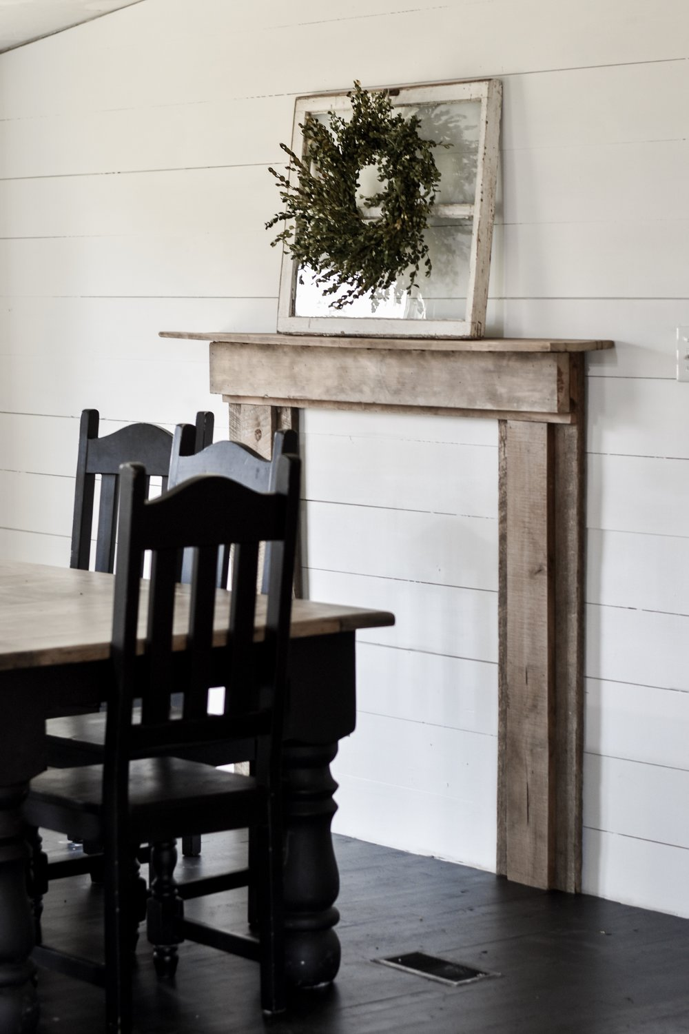 Build a faux mantel and fireplace with gathered barn wood to create a rustic farmhouse feel in your home. | Rocky Hedge Farm
