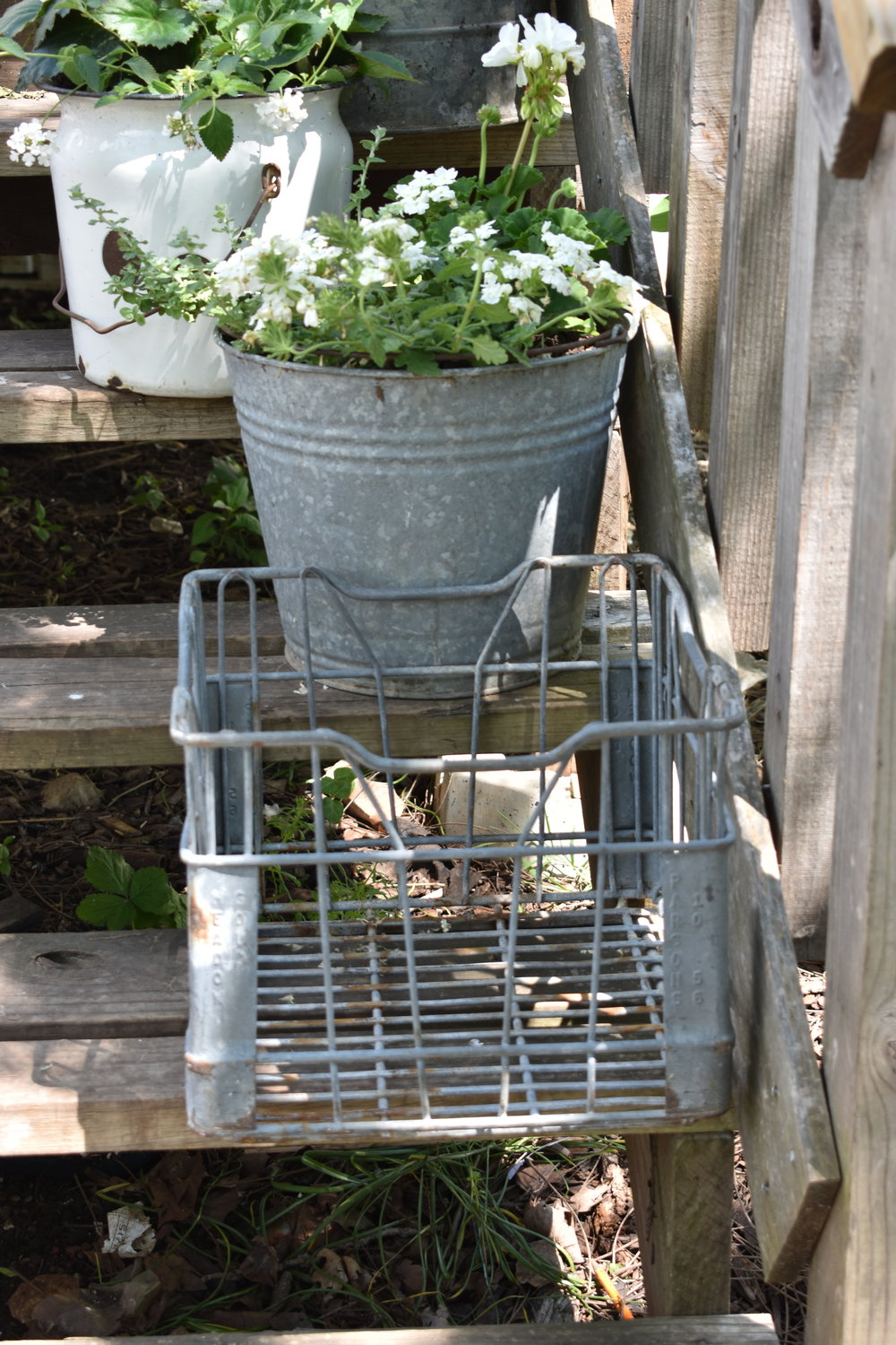 Galvanized Metal Milk Crate Planter | Rocky Hedge Farm