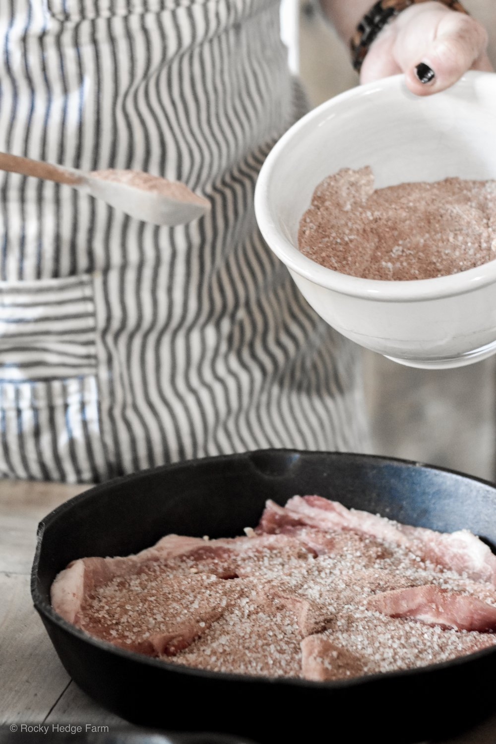 What spices are good on pork chops and how long do I cook them in the oven | Rocky Hedge Farm