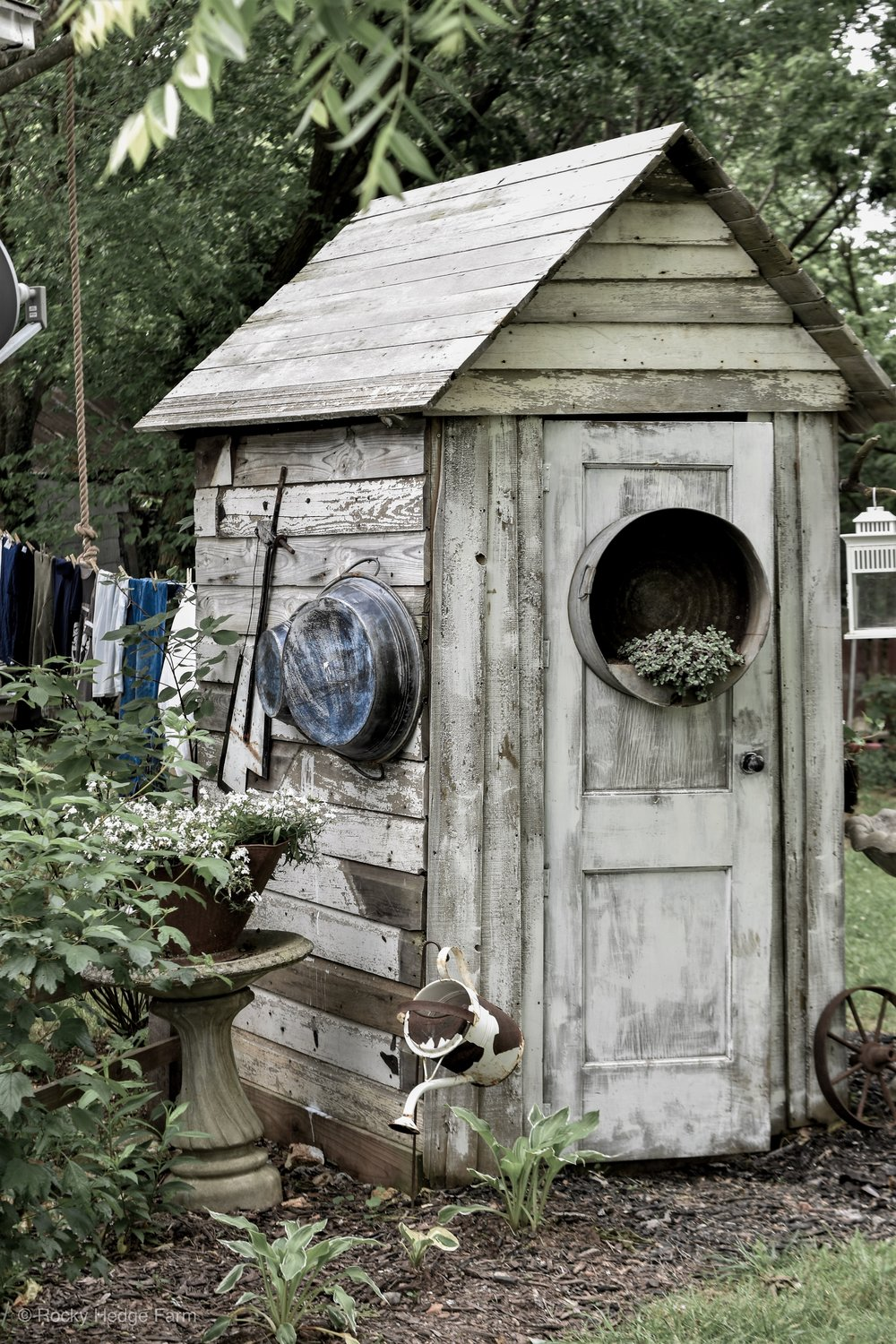 Small Rustic White Garden Shed | Rocky Hedge Farm