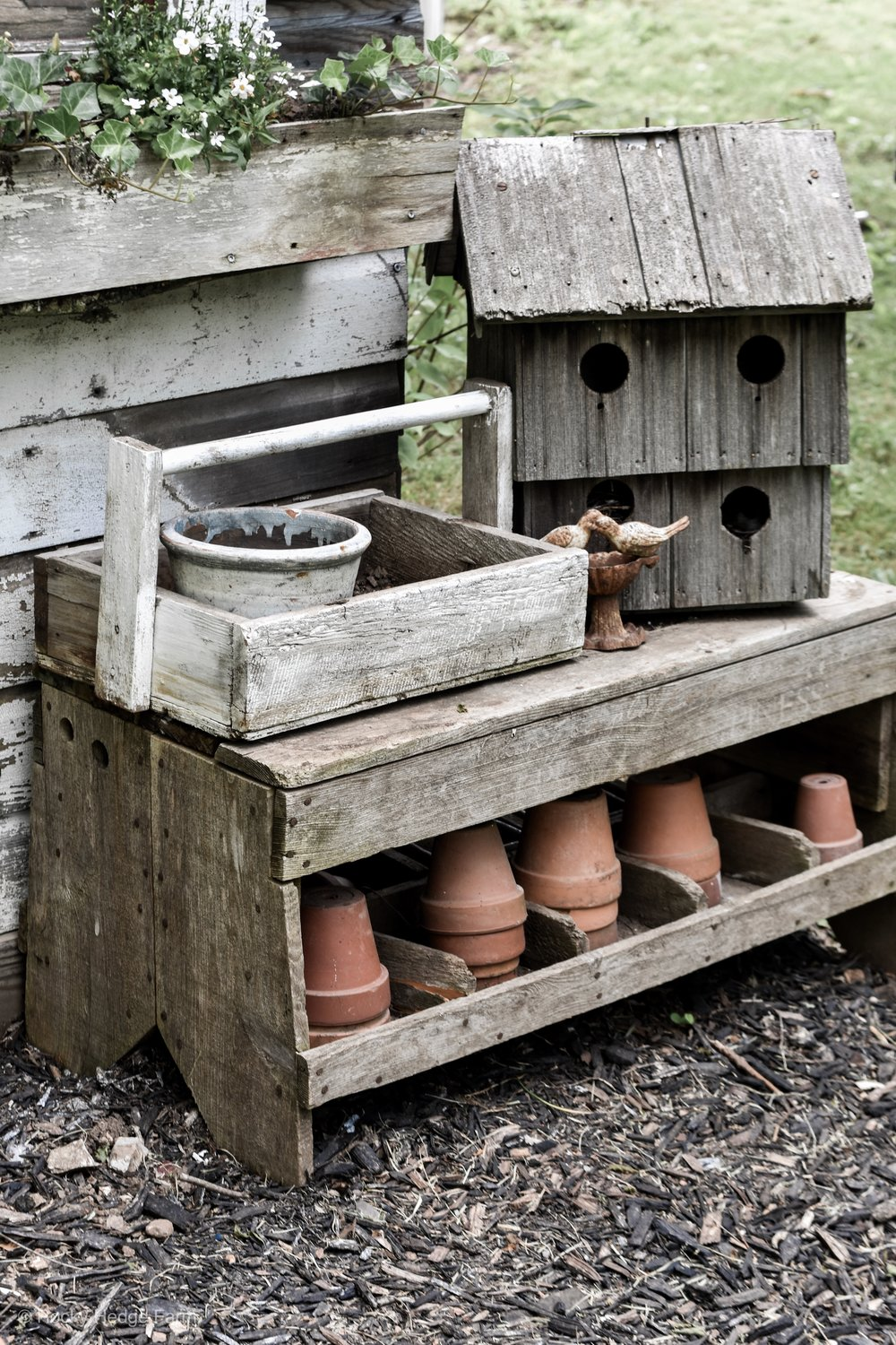 Rustic garden decor old bench and clay terra cotta pots | Rocky Hedge Farm