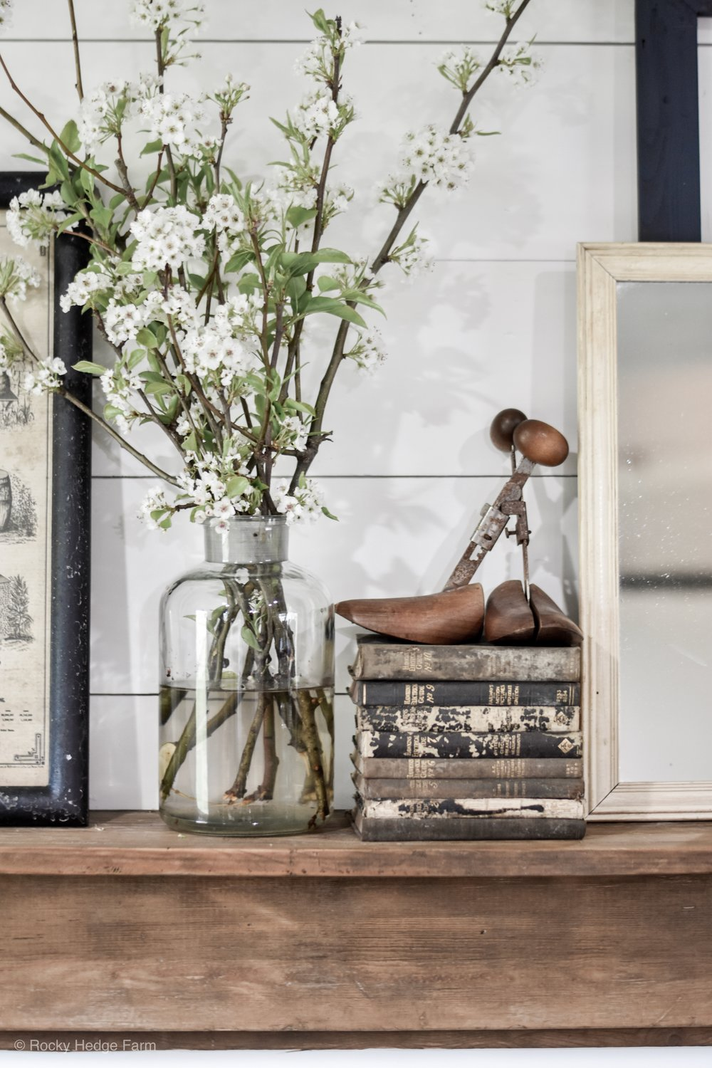 Spring Farmhouse Mantel - Antique Books - Antique Shoe Stretcher | Rocky Hedge Farm