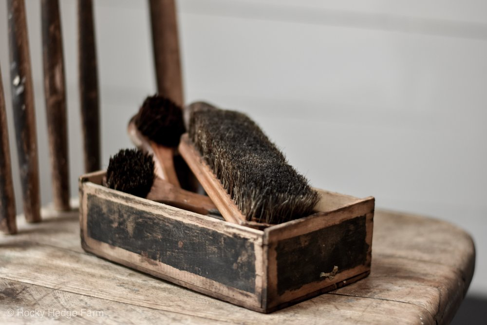 Antique Brushes and an Old Wooden Box | Rocky Hedge Farm