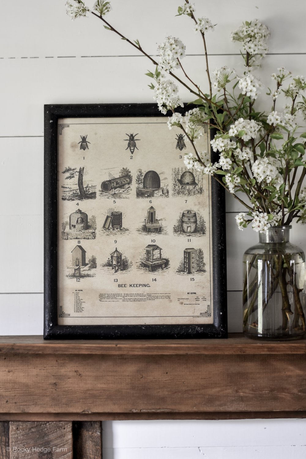 Simple Vintage Style Bee Keeping Print - Rustic Farmhouse Spring Mantle | Rocky Hedge Farm