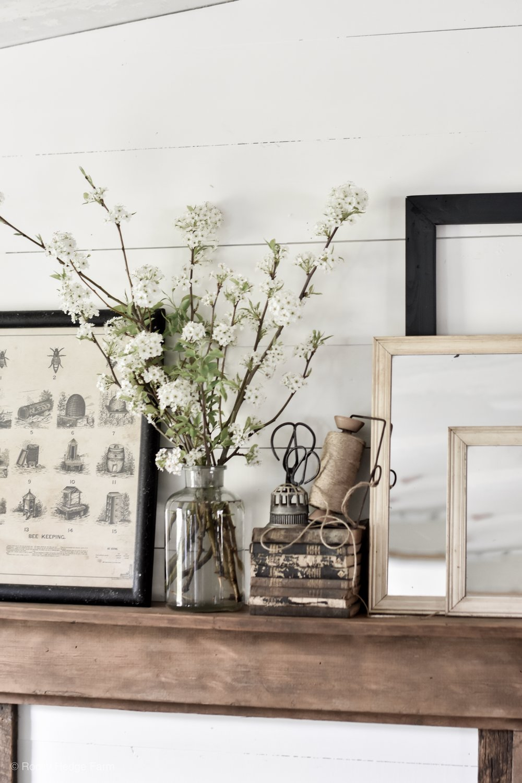 Simple Rustic Farmhouse Spring Vintage Inspired Mantel Decor.JPG