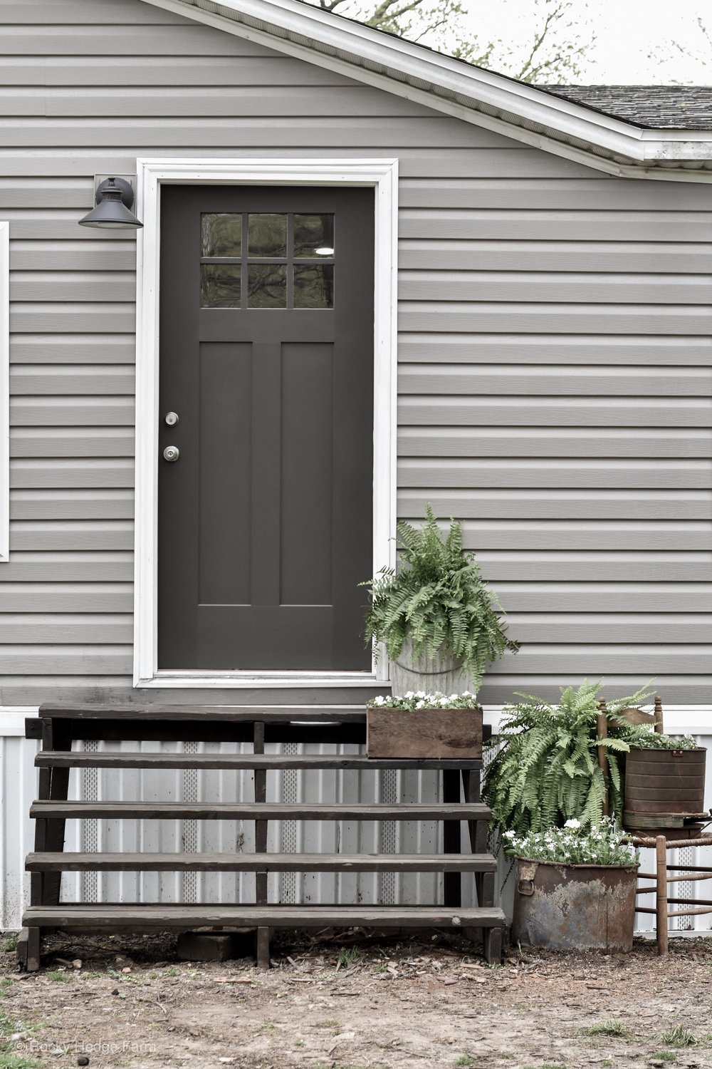 Double Wide Mobile Home Front Door and Porch | Rocky Hedge Farm