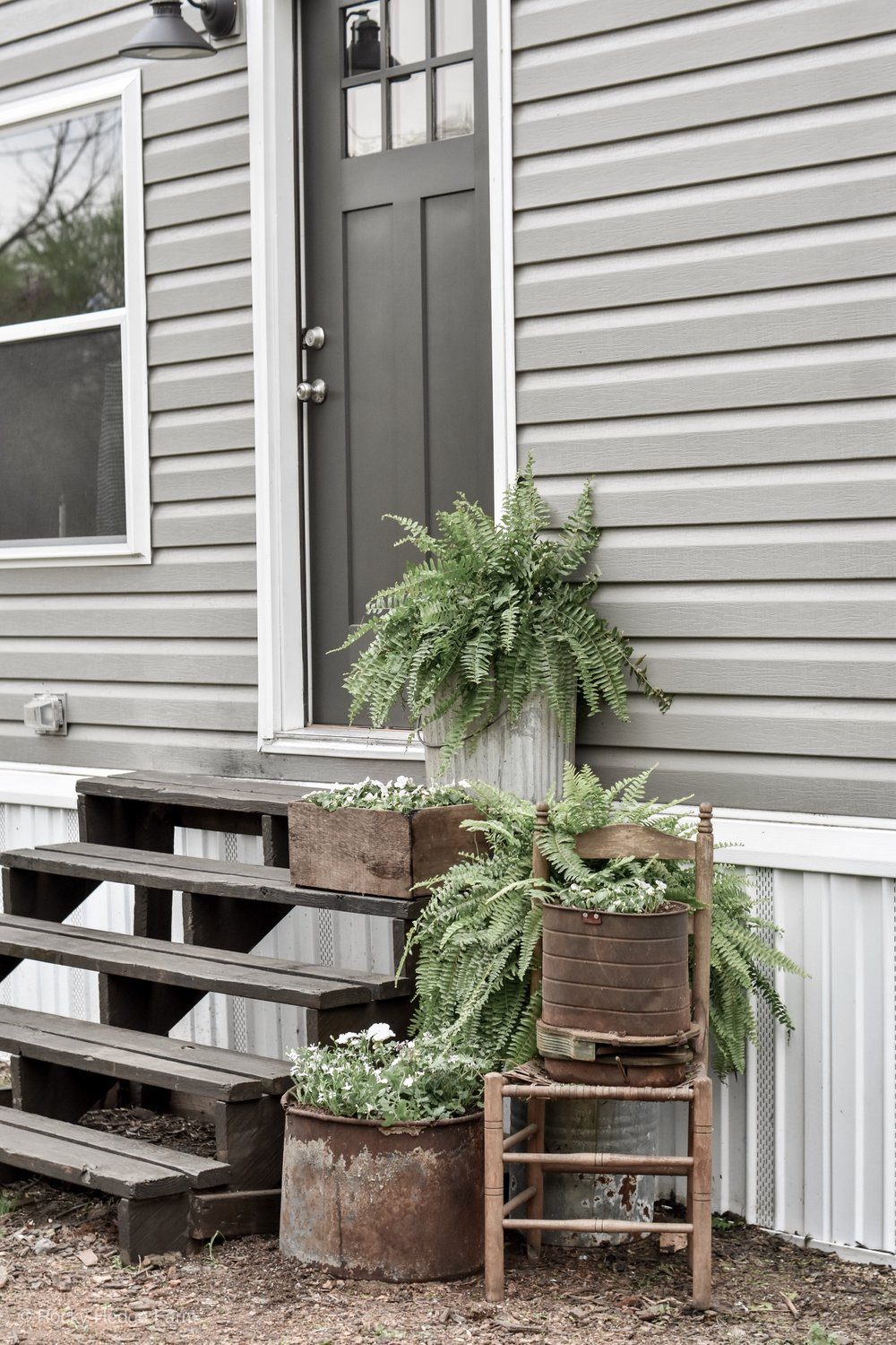 Black Front Door, White Trim, Gray Siding - Double Wide Mobile Home | Rocky Hedge Farm