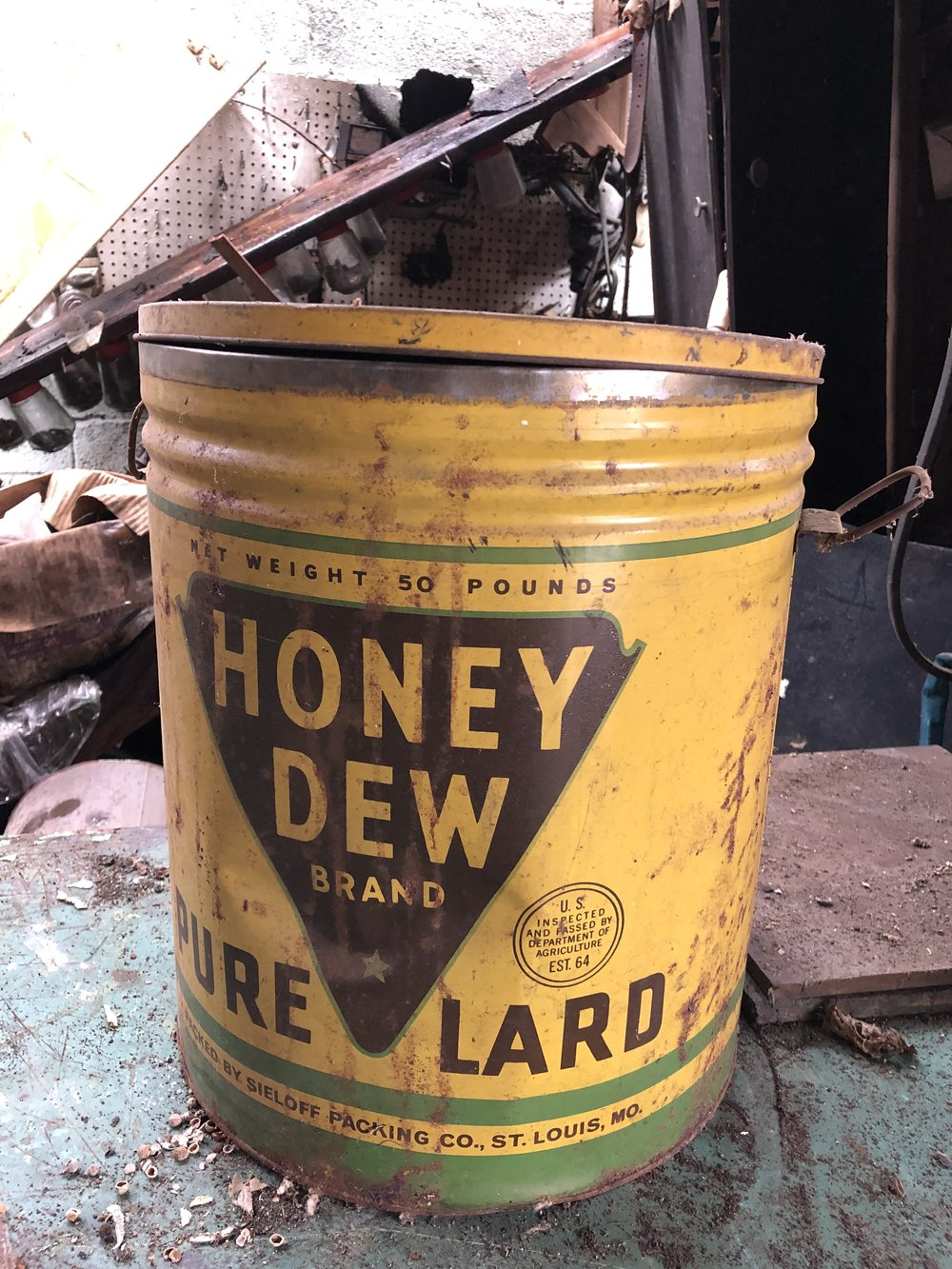5 Gallon Honey Dew Lard Can