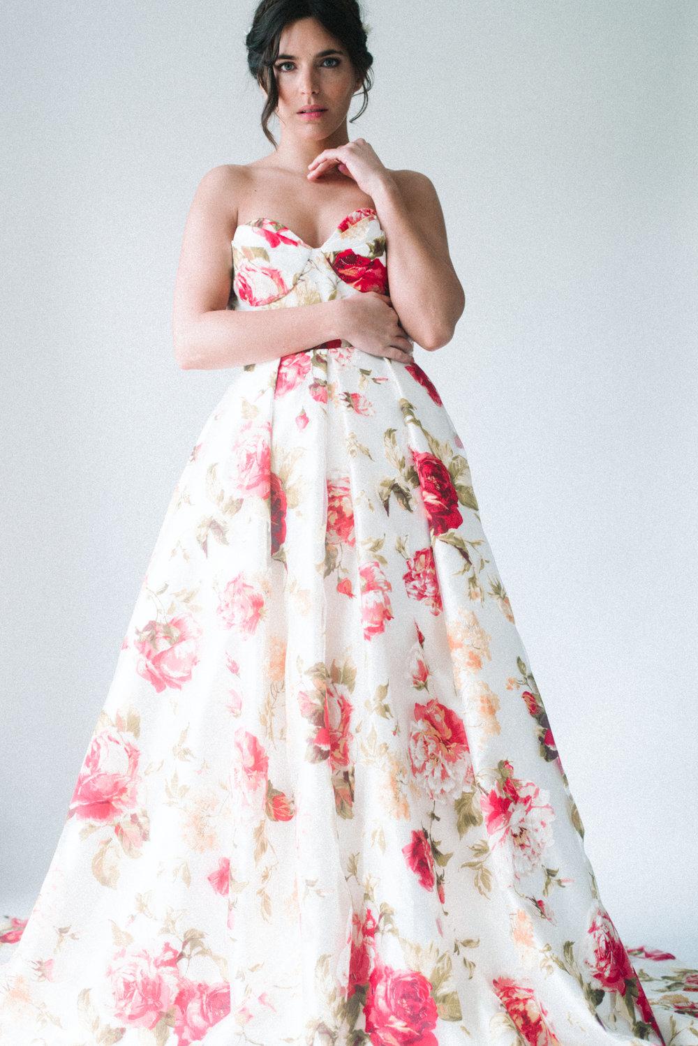 floral bridal dress