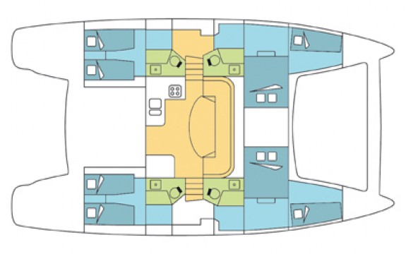 Catana Carbon 47 - 4 double rooms for guests.4 bathrooms.2 single berth for the crew.Living room and kitchen.