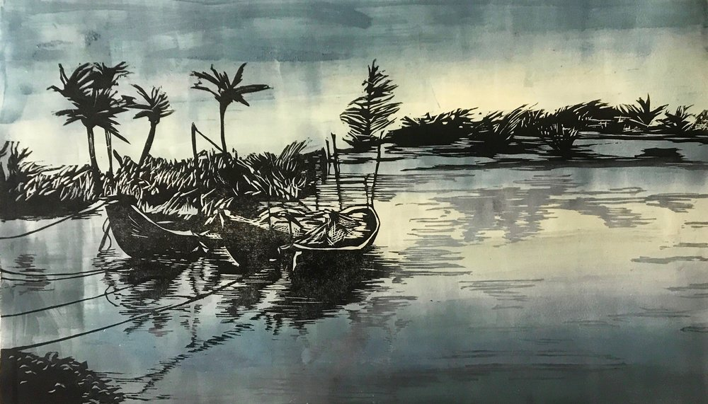 Hoi An, Vietnam II | Woodcut and Monotype, Fabriano Paper 220 gms | Image Size: 50cm x 70cm (19.68''x 27.55'') | 2017