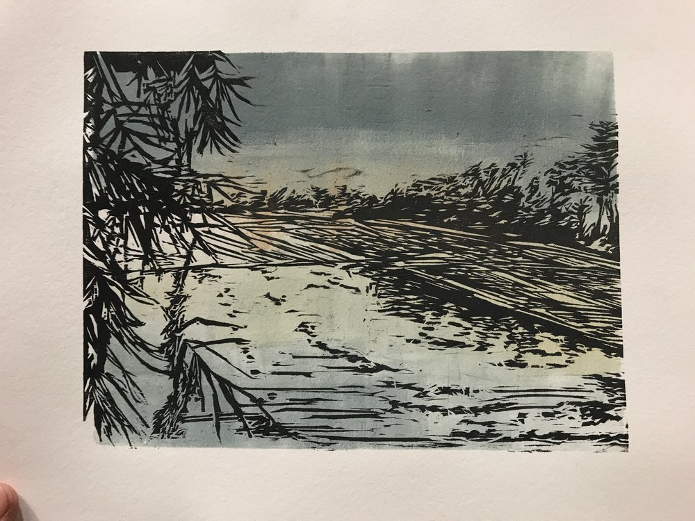 "Mae Jong, Thailand  | Woodcut and Monotype | Paper: 10""X11"" 