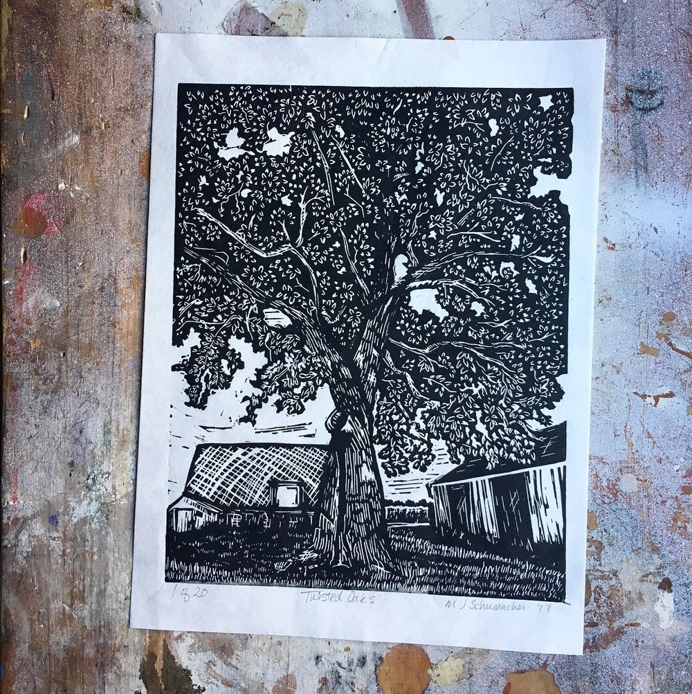 "Twisted Oaks - 8x10"" Speedball Pro Relief Supergraphic Black on Unbleached Mulberry Paper -A scene from my family's Illinois farmhouse-"