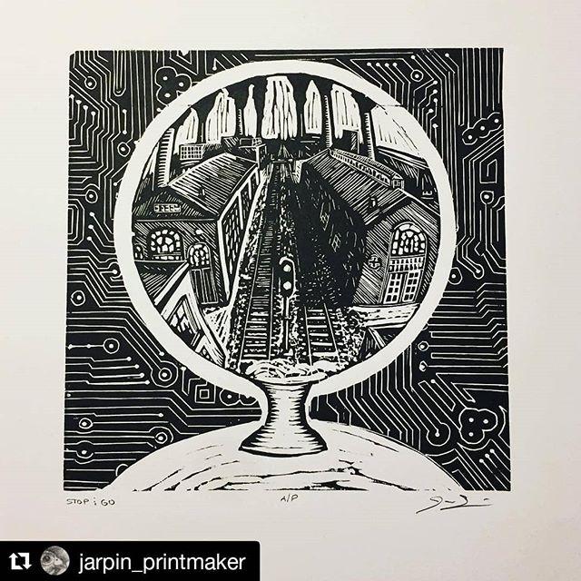 """#Repost @jarpin_printmaker Check out this Artist when you get a chance! #justprintmaking #featuredartist . . . ・・・ Finally got this where I wanted it!  Linocut 7"""" x 7"""" . . . #print #printmaking #printmaker #printmakingstudio #art #artist #artistsoninstagram #blockprint #linocut #lino #linoleumprint #linoprint #reliefprint  #reliefprinting  #milwaukeeartist #wisconsinartist #printart #artprints #justprintmaking #crystalball #speedballprofessionalreliefink #inkonpaper #flexcut #water #wip #danger"""