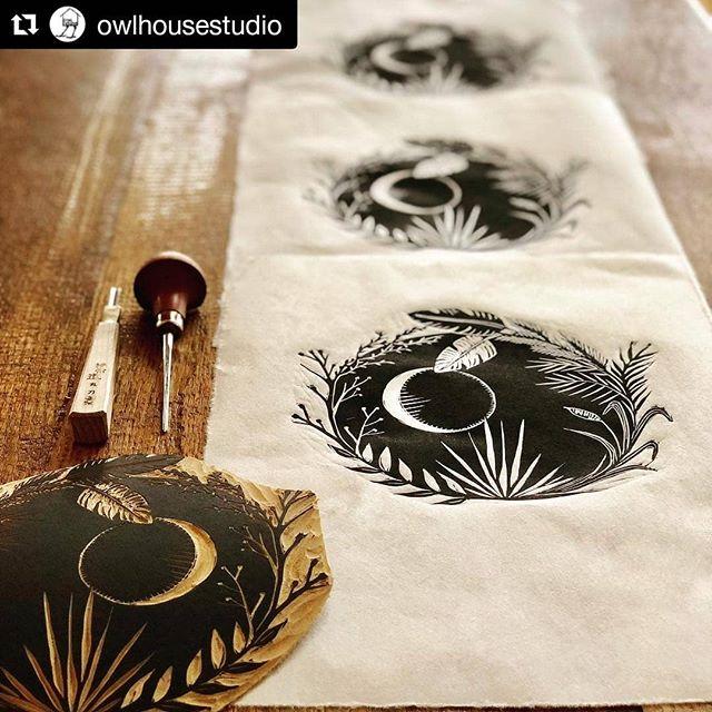"#Repost @owlhousestudio Beautiful shot and wonderful print. Check out this Artist when you get a chance! #justprintmaking #featuredartist . . . ・・・ ""Rising"" printed with @graphicchemicalinkco W/S lamp black on mulberry paper. . . . #printlife #artinprogress #owlhousestudio #handcarved #design #illustration #louisianaartist #linoleum #linocut #printmakersofinstagram #reliefprint #blockprint #makersmovement #carvetimeoutforart #print #artwork #folkart #instart #visualart #artprint #artonpaper #womanartist #botanicalillustration #luna #plantsofinstagram #inkonpaper"
