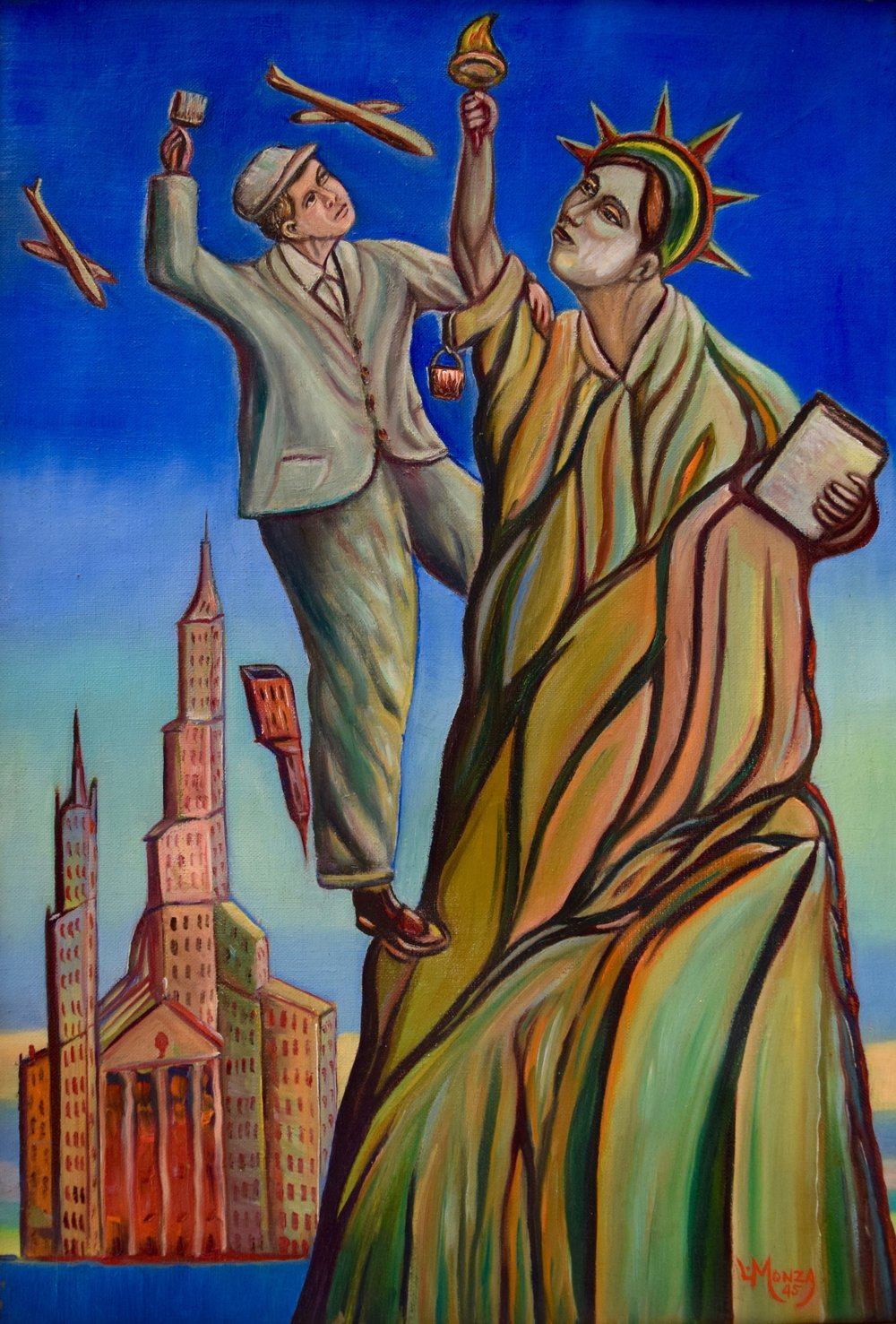 LOUISMONZA  (1897-1984), Lady Liberty,  1945, Oil on canvas Born, Turate, Italy; Died, Redondo Beach, California Active in New York City to 1948