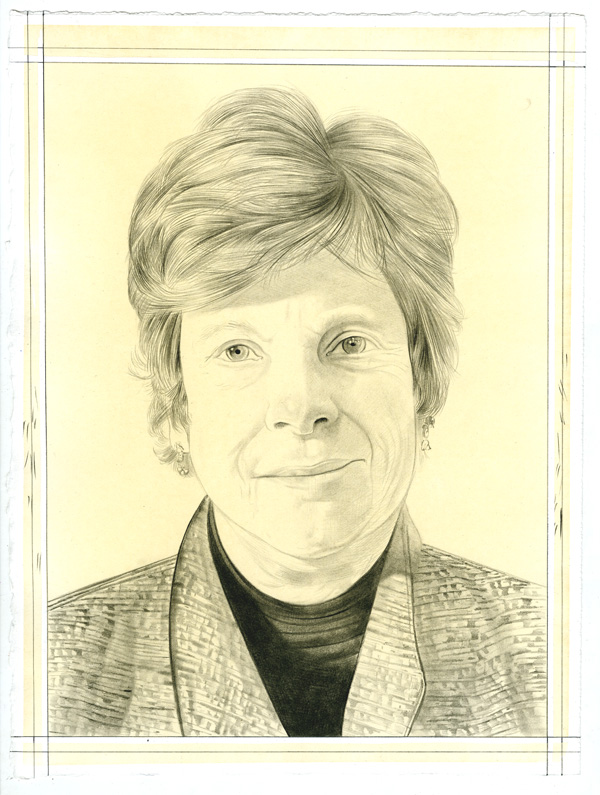 Portrait of Susan Larsen, pencil on paper by Phong Bui