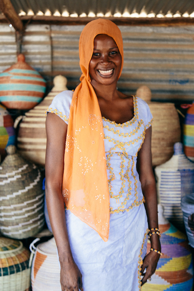 Fatou Diakhate, one of our vendors for select baskets, totes and accessories in Theis, Senegal.