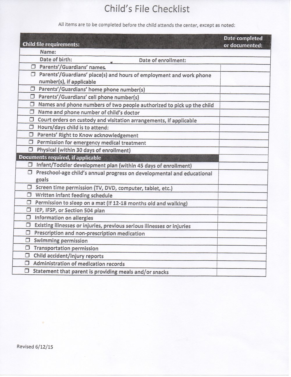child file checklist kind mind kids