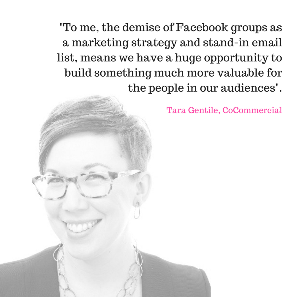 Tara Gentile - I've never been a fan of Facebook groups--free or paid.When I originally started the group that became CoCommercial, we hosted it in Google+ because it was clear even 5 years ago that Facebook groups were not going to be a long-term play.As we rebranded the group into CoCommercial and doubled-down on building the business association for the New Economy, we made a move to Mighty Networks.Gina Bianchini, the founder, wanted to create an alternative to the monolithic feeds at Facebook or Twitter that was based on shared interests or identities.There are certainly challenges to building a community off of a platform where