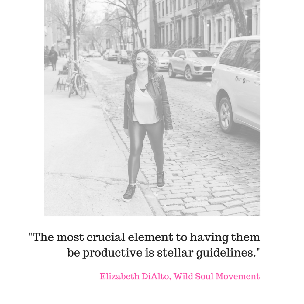 Elizabeth DiAlto - I use FB groups two ways.One is to have a free, closed group for my community to connect with each other. I no longer manage this space myself, but I do pop in to post and curate content.I love this because I am a community builder and I love getting to know and see what's going on with my women.We do a daily welcome post where we ask people to introduce themselves and share what they love about being a woman and what they find challenging about being a woman.Their responses provide invaluable feedback that I use to create content, curate podcast guests and more.I also use FB groups for my programs. I run my monthly Q+A via FB live now inside my one group, and for my others it's the place to ask questions, celebrate, and seek advice and acknowledgement between calls.THE MOST CRUCIAL element to having them be productive is stellar guidelines.Elizabeth DiAlto, Wild Soul Movement