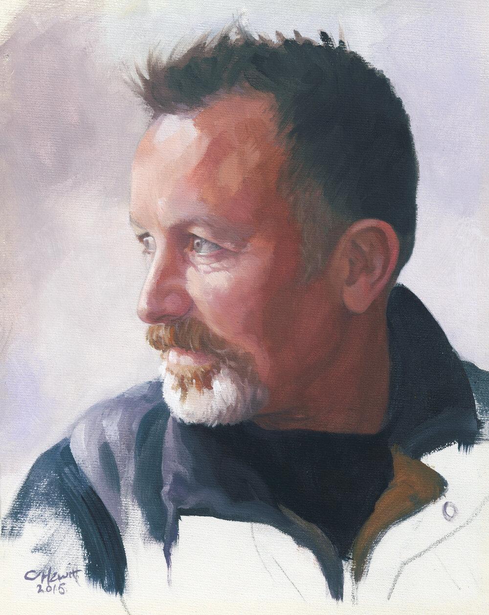 'Ian', oil on canvas board, 29x25cm. Exhibited at the Scottish Portrait Awards at the Scottish Arts Club, Edinburgh.