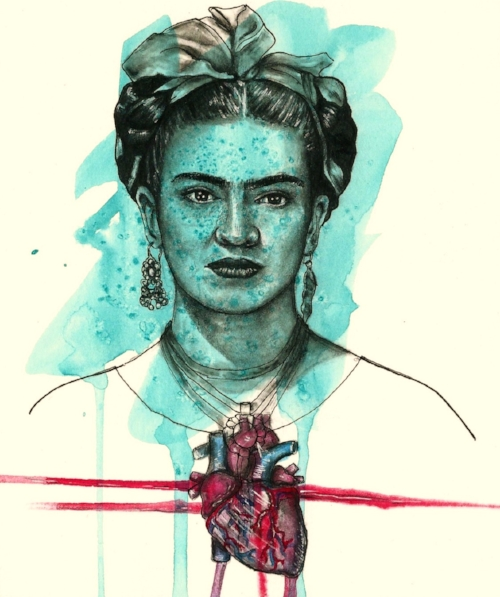"""Blue Frida"" (watercolor, pen, chalk pastel)"