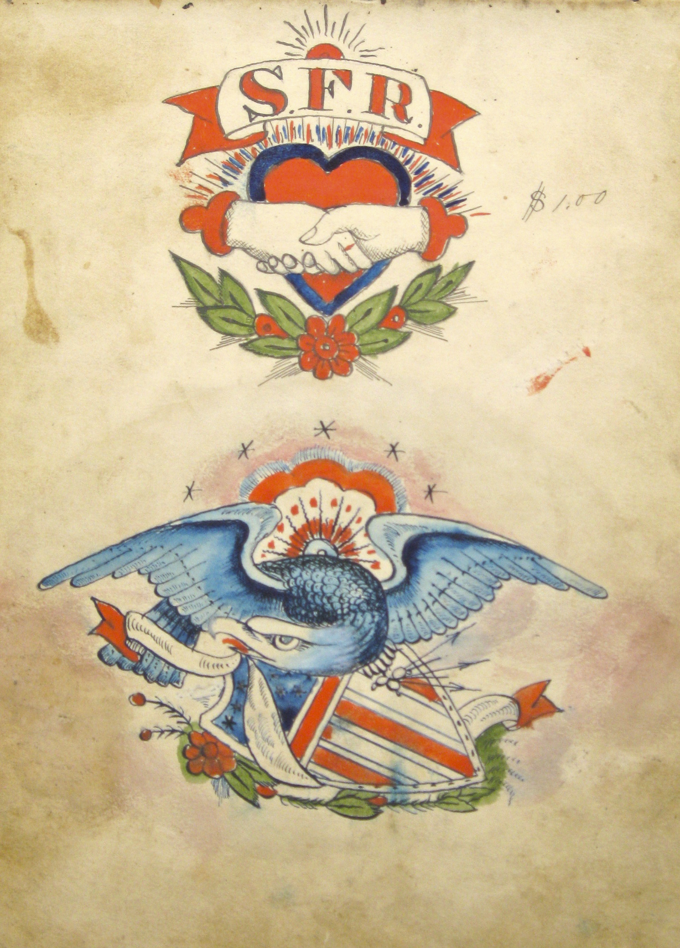 "Samuel O'Reilly, ""Eagle and shield"" (1875–1905), watercolor, ink, and pencil on paper (collection of Lift Trucks Project)"