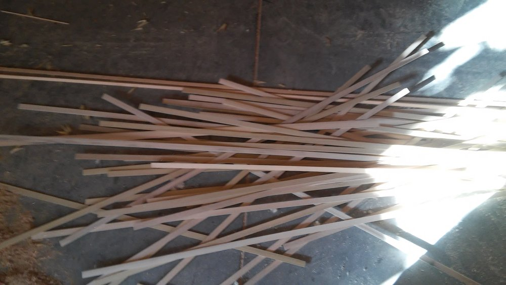 Off-cuts (scrap) from arrow sawing. These stirring sticks will be put to use for decades to come.