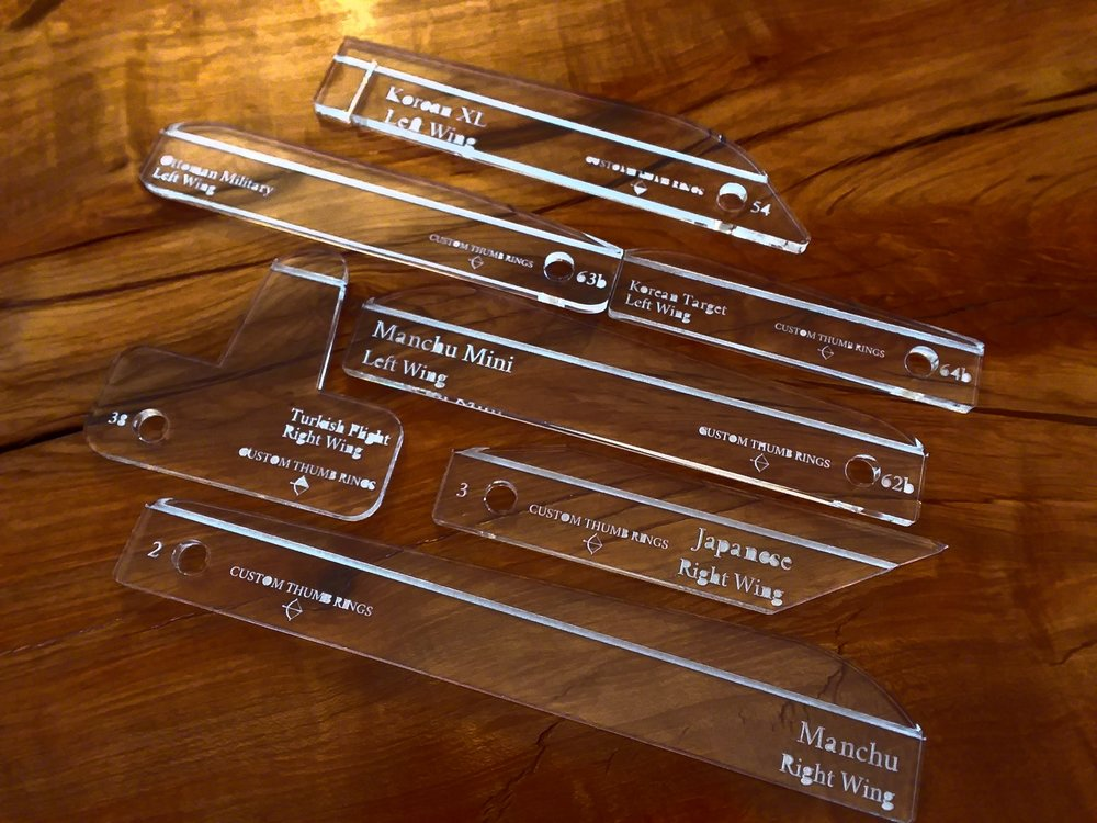 All 7 of our jig styles: Korean XL, Korean Target, Ottoman Military, Turkish Flight, Japanese, Manchu, and Manchu Mini.