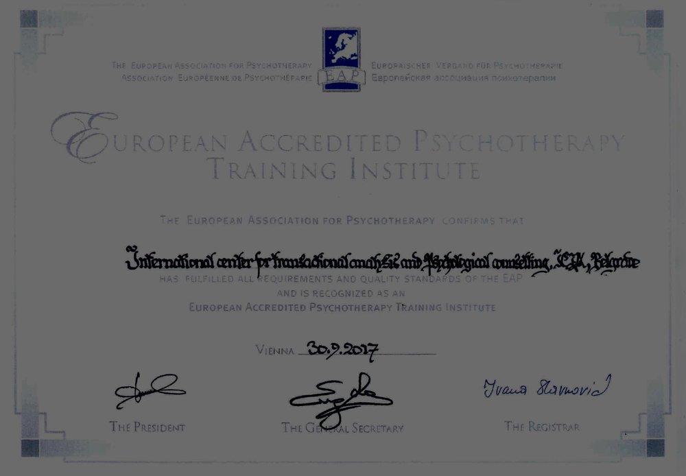 ICTA je zvanicno akreditovan evropski Institut za trening iz oblasti psihoterapije /Transakciona analiza/