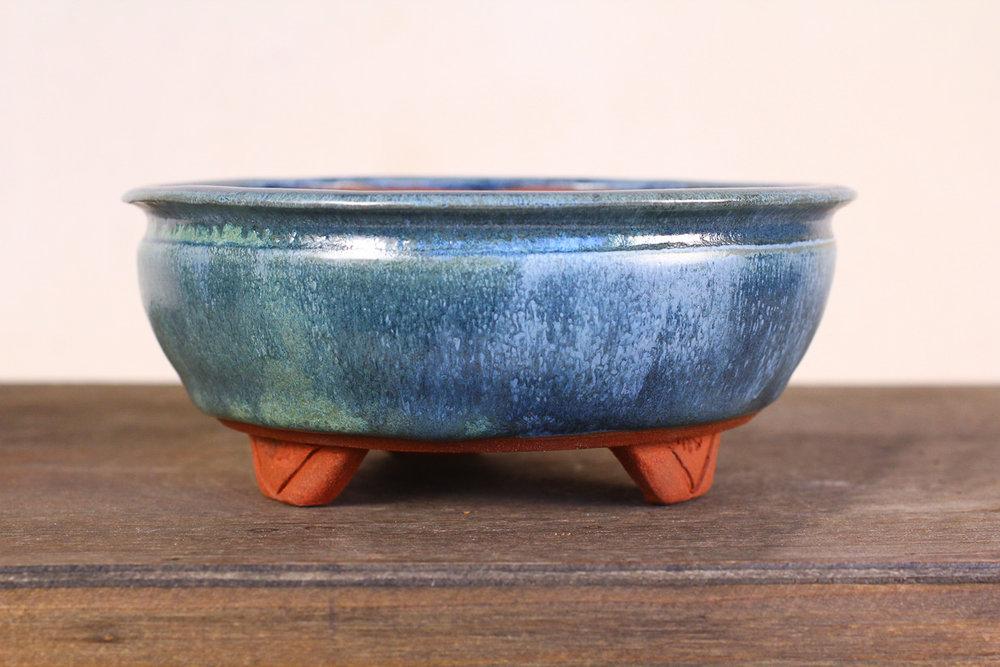 "Weathered Blue 5.5"" Round Bonsai Pot with Feet"