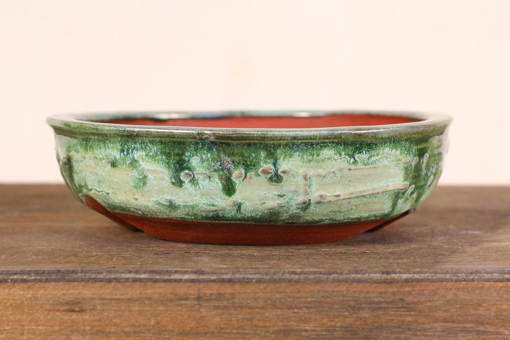 "Shallow Textured Spanish Moss 6"" Round Bonsai Pot"