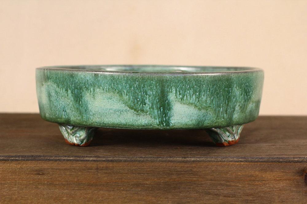 "Spanish Moss 7"" Green Bonsai Pot with Decorative Feet"