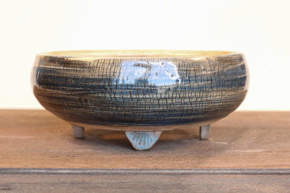 "Cracked Effect Blue 5.5"" Bonsai Pot with Feet"