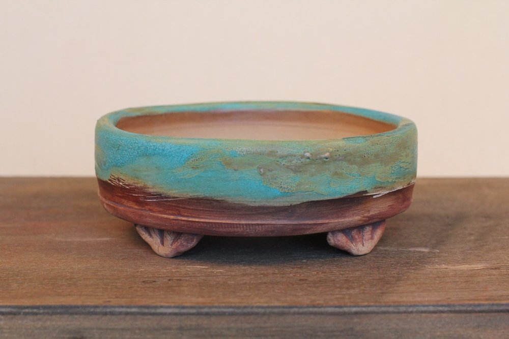 "Matte Turquoise Drum 5.5"" Bonsai Pot with Decorative Feet"