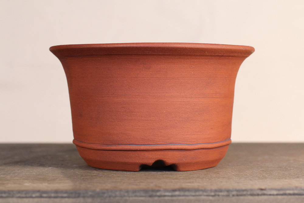 "Unglazed Red Clay 4.75"" Round Semi-Cascade Bonsai Pot"