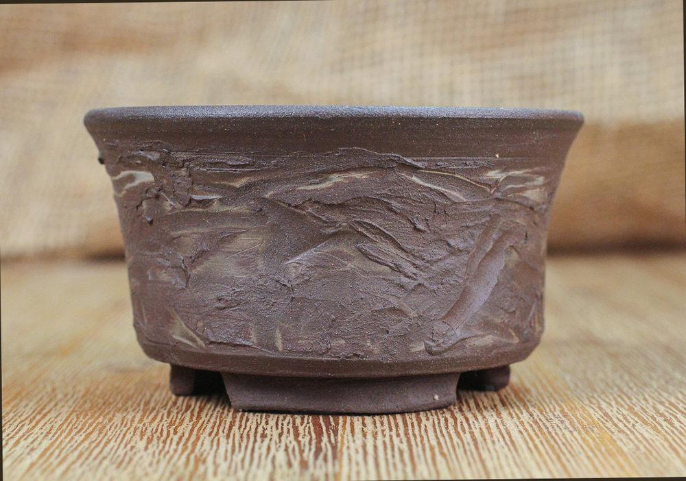 "Textured Marble 3.5"" Round Bonsai Pot"